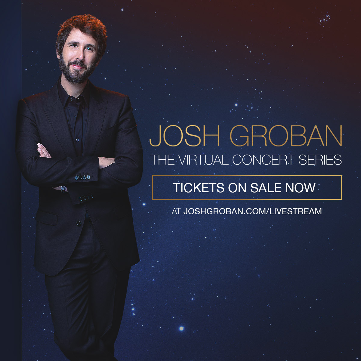 Josh Groban Virtual Concert Ticket for Feb 14, 2021